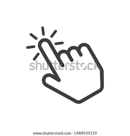 Click here the button. Hand sign with touching a buttons or pointing finger. Hands cursor icon. Vector illustration in flat style. EPS 10. Photo stock ©