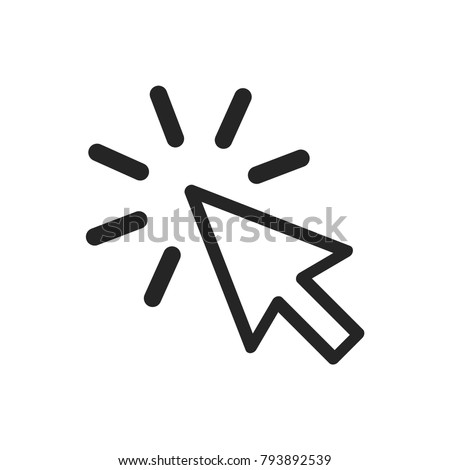 Click icon vector, cursor symbol. Press pictogram, flat vector sign isolated on white background. Simple vector illustration for graphic and web design.