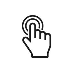 click icon vector. select, press, finger press, finger click, hand click, thumb, button click, choice, cursor, choose, touch, pointer, mouse symbol vector illustration isolated for web and mobile app