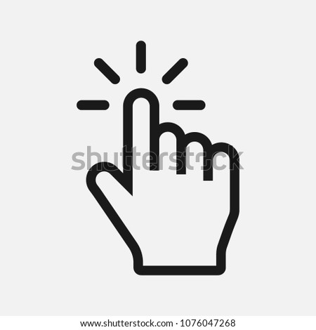 click icon vector. select, press, finger press,finger click,hand click,thumb,button click,choice,cursor,choose,touch,mouse symbol vector illustration isolated for web and mobile app on grey background