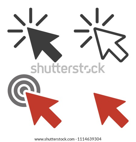 Click icons set on white background. Vector Illustration