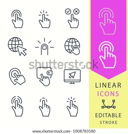 Click - line vector icon set. Editable stroke. Pointer, cursor, press, finger, ets.