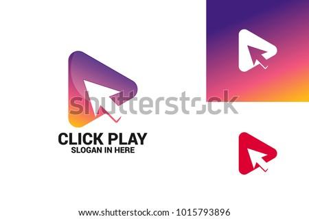 Click Play Logo Template Design Vector, Emblem, Design Concept, Creative Symbol, Icon