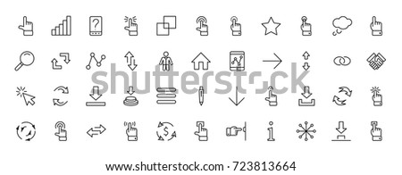 Click Set of Buttons related Vector Icons. Contains such Icons as Cursor, Mouse, Hand, Index Finger, Arrow and more. Editable Stroke. 32x32 Pixel Perfect