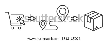click shopping and collect order, icon, delivery services steps, receive order in pick up point, e-commerce business concept - editable stroke vector illustration Stock photo ©