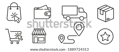 click shopping and collect order, icon, delivery services steps, receive order in pick up point, e-commerce business concept - editable stroke vector illustration