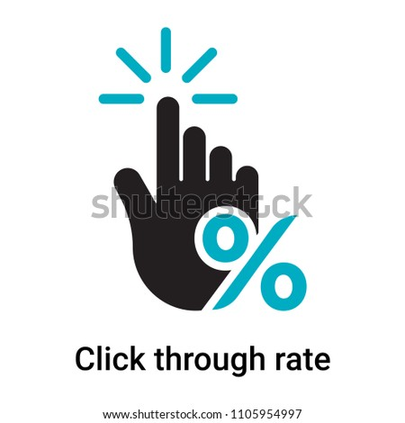 Click through rate icon vector isolated on white background for your web and mobile app design, Click through rate logo concept