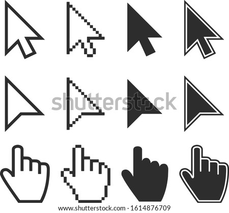 Clicking Mouse And Cursors Computer Finger Pointers Vector Set For Web \ Internet \ Print