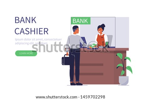 Client and bank cashier behind cash department window. Can use for backgrounds, infographics, hero images. Flat style modern vector illustration.