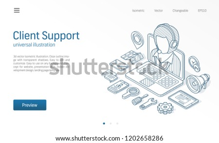 Client, customer support center, contact us isometric line illustration. Call service, help desk, business communicate technology sketch drawn icons. 3d vector background. Operator web connect concept