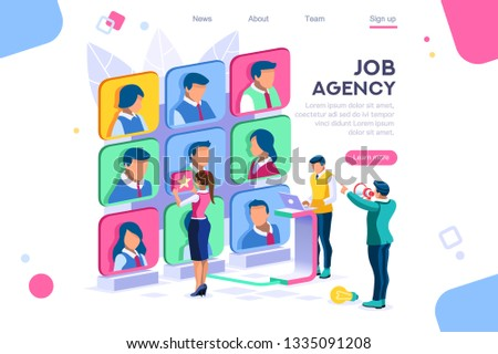 Client employee job agency character hire group contract social employer. Flat color icons, creative illustrations, isometric infographic images, web banner - Vector