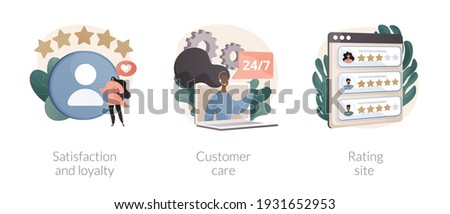 Client feedback tracking abstract concept vector illustration set. Satisfaction and loyalty, customer care, rating site, online tech support, product review page, marketing tool abstract metaphor. Foto stock ©