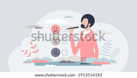 Client satisfaction survey as customer feedback review tiny person concept. Experience opinion from consumer as choice for service or product vector illustration. Performance appraisal scale.