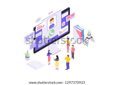 Client service isometric vector illustration. Customer online support. Order processing. Call center, consumer assistance 3d concept. Technical support and order management isolated clipart