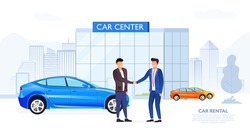 Client shaking automobile dealers hand in simple sketchy image with two men outdoors near Car Center, rental or used car dealership office, transferring a car after signing the contract