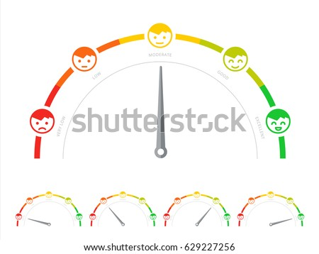 Client survey rate or meter in flat design. Customer service satisfaction score diagram or scale. Feedback gauge or speedometer with smiley like and dislike icons. Social consumer score graph.