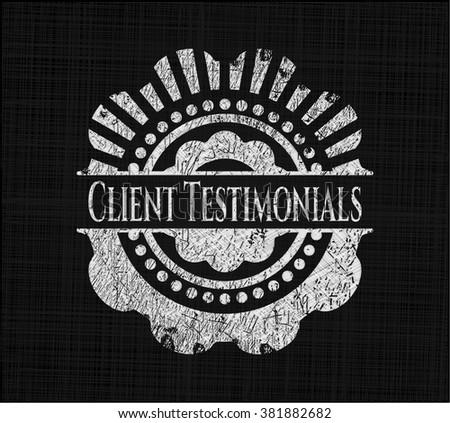 Client Testimonials chalkboard emblem on black board