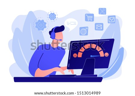 Clients assistance, call center, hotline operator, consultant manager. Customer care, seamless and personalized service, customer experience concept. Pink coral blue vector isolated illustration