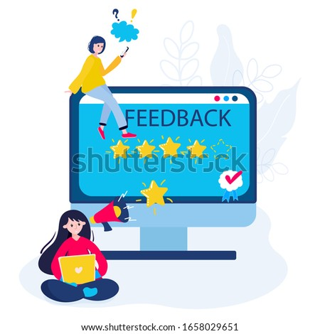 Clients give best, five stars review for good service. Customer rating in marketing.  Excellent feedback in application. Concept of good quality business survey. Woman is writing in support.