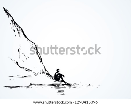 cliff calm remote alps scene on