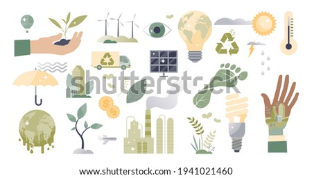 Climate action and sustainable environment lifestyle set tiny person concept. Isolated elements about alternative energy to save planet, carbon footprint and recycle topics. Global warming objects.