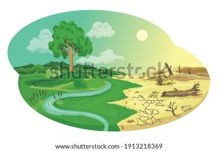 Climate change desertification illustration. Global environmental problems. Land degradation infographic. Soil erosion, desertification. Global warming concept Сток-фото ©