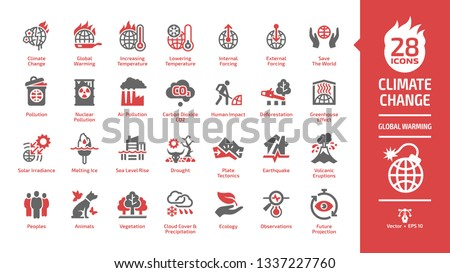 Climate change or global warming danger red color glyph icon set with world heat temperature, globe greenhouse effect, air pollution, earth co2 smoke problem and environment save sign.