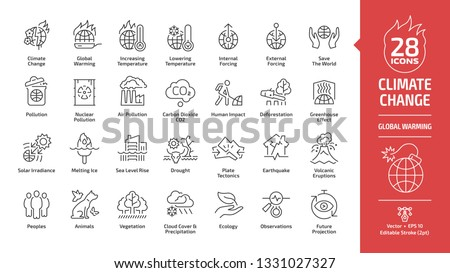 Climate change or global warming editable stroke outline icon set with world increasing and lowering temperature, globe nuclear and air co2 pollution, greenhouse effect, melting ice line ecology sign.