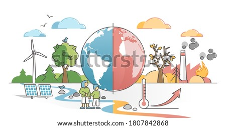 Climate change with weather global greenhouse warming risks outline concept. Compared planet with renewable eco resources consumption and fossil fuel and gas burning alternative vector illustration. Foto stock ©