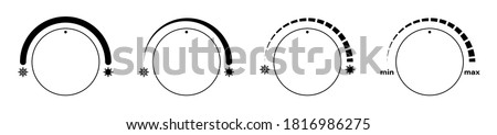 Climate control regulator icons with sign of cold, snowflakes and heat, sun. User interface. Electronic thermostat control. Vector Stock photo ©