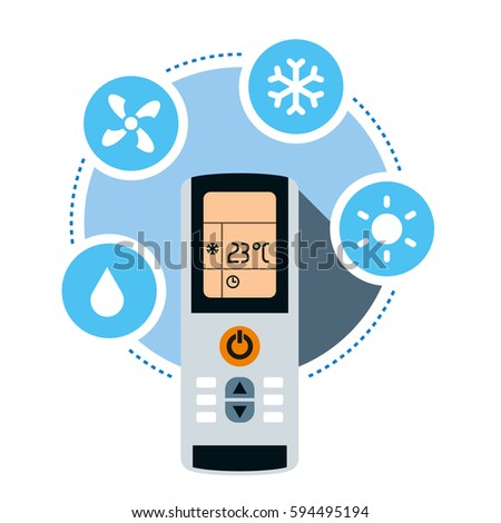 Climate control system concept. Air conditioner remote control and air conditioning symbols. Vector illustration isolated on white background.
