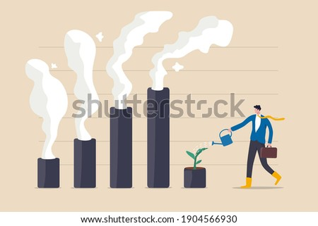 Climate crisis and environment policy, ESG or ecology problem concept, businessman leader watering seedling  plant on bar graph with pollution smoke rising up.