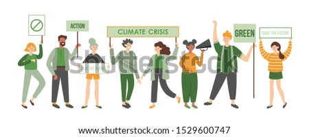 Climate crisis protesters holding placards. Political meeting concept. Women and men flat characters design