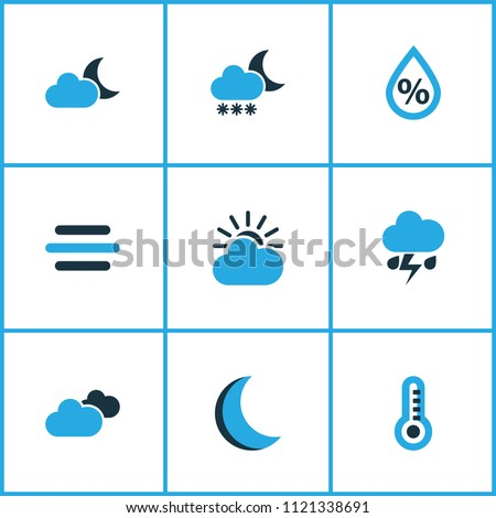 Climate icons colored set with snowfall, moon, cloudy sky and other humidity elements. Isolated vector illustration climate icons.