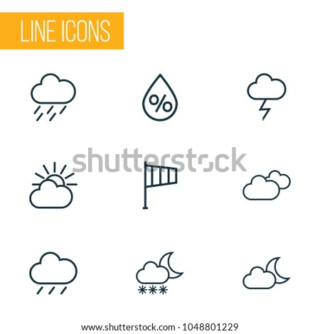 Climate icons line style set with humidity, rainfall, overcast and other snowfall elements. Isolated vector illustration climate icons.
