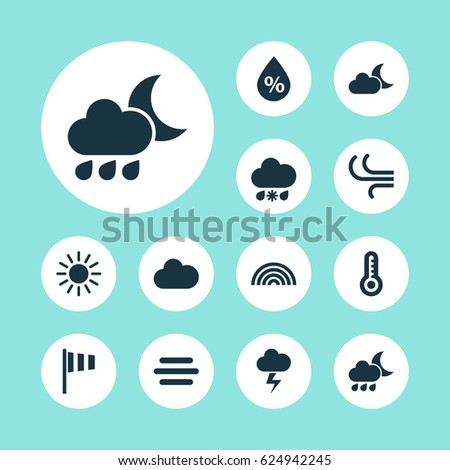 climate icons set collection