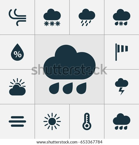 Climate Icons Set. Collection Of Sun, Snowy, Temperature And Other Elements. Also Includes Symbols Such As Lightning, Breeze, Haze.