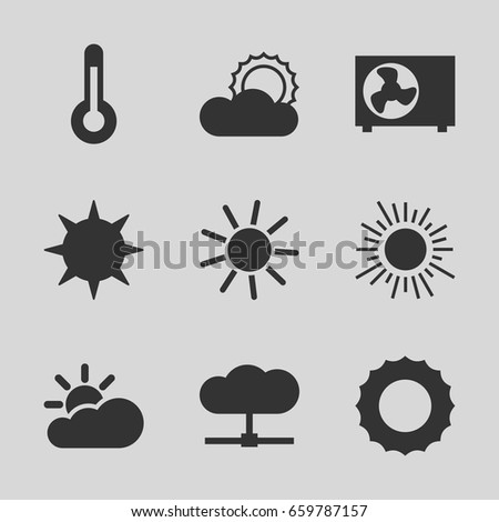 Climate icons set. set of 9 climate filled icons such as sun, air conditioner, temperature, sun cloud