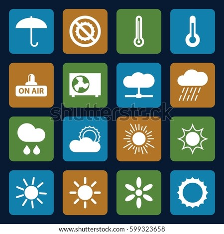 climate icons set. Set of 16 climate filled icons such as sun, rain, no brightness, open air, air conditioner, temperature, thermometer, umbrella