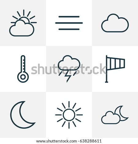 Climate Outline Icons Set. Collection Of Sun, Windsock, Night And Other Elements. Also Includes Symbols Such As Lightning, Moon, Overcast.