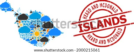 Climate pattern map of Heard and McDonald Islands, and rubber red round stamp seal. Geographic vector mosaic map of Heard and McDonald Islands is organized from random rain, cloud, sun,