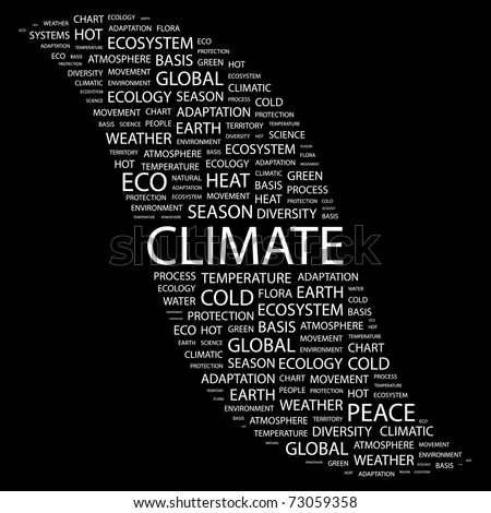 CLIMATE. Word collage on black background. Vector illustration. Illustration with different association terms.