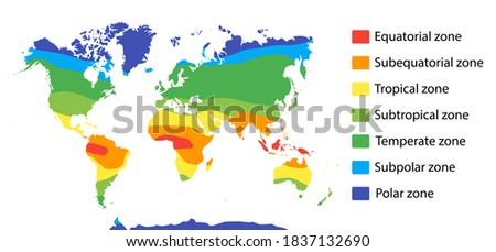 climate zones map scheme. Vector illustration with equatorial, tropical, polar, subtropical, subequatorial subpolar temperate zones Imagine de stoc ©