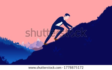 Climb to success - Man working hard and climbing to reach the top of hill with mountain and forest in background. Overcome adversity, Career and personal goals concept. Vector illustration.