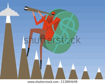 Climber holding a telescope and wearing a backpack with a large dollar sign on it scales the high peaks of success