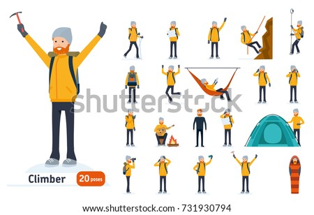Climber set. Ready to use character set. Climber with a pick on top of a mountain, tourist hiking, resting, walking, trekking. Isolated white background. Vector illustration. Cartoon flat style.