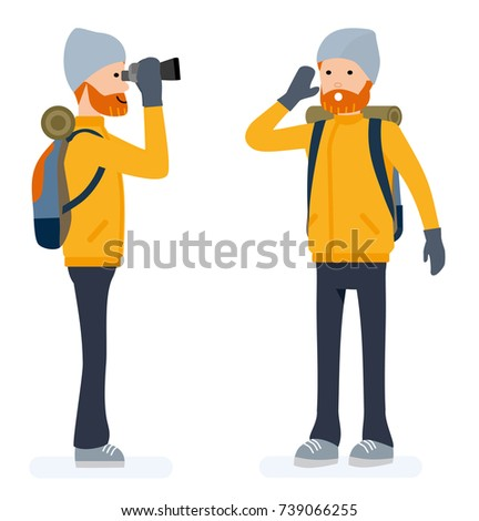 Climber set, tourist looking through binoculars, calls for help. Isolated against white background. Vector illustration. Cartoon flat style.
