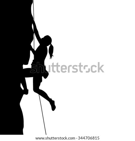 climber woman silhouette vector