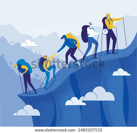 Climbers Group Helping each other Flat Cartoon Vector Illustration. Teamwork Concept. People with Racksacks or Backpacks Hiking in Mountains. Leader on Top with Compass. Traveling and Trekking.
