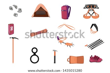 climbing equipment. mountaineering equipment set.